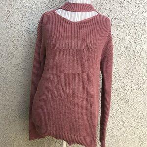 Love Tree Pink Blush Knit V-Neck Sweater